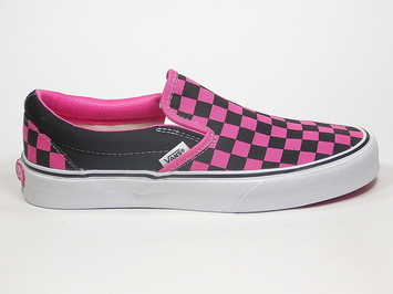 кеды слипоны Vans (Checkerboard) Black / Fandango Pink (104)