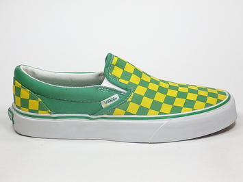 кеды слипоны Vans (Checkerboard) Leprechaun Green / True Yellow  (106)