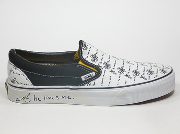 кеды слипоны Vans (Love Me Not) True White / Black (108)