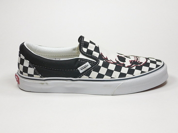 кеды слипоны Vans (Checkerboard Skull) Black/True White (144)