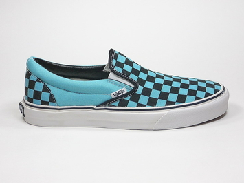 кеды слипоны Vans (Checkerboard) Waters / Black (146)