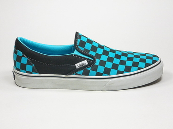кеды слипоны Vans (Checkerboard) Black / Scuba Blue (147)