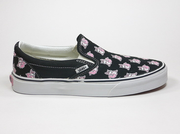 кеды слипоны Vans (Multi Roo) Black / Prism Pink (149)